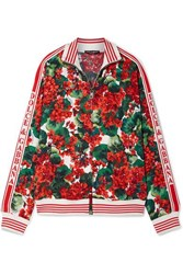 Dolce And Gabbana Intarsia Trimmed Floral Print Crepe Track Jacket Red