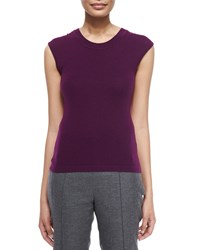 Escada Round Neck Fitted Tank Amethyst Purple