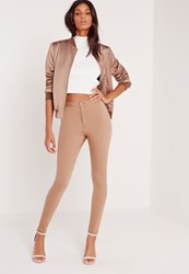 Missguided High Waisted Skinny Jeans Camel Beige