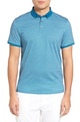 Ted Baker Men's London Fliyte Jacquard Polo Teal Blue