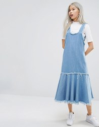 Style Nanda Stylenanda Frayed Edge Denim Pinafore Dress Blue