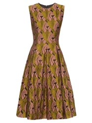 Emilia Wickstead Mercedes Fil Coupe Sleeveless Dress Green Multi