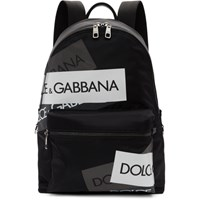 Dolce And Gabbana Black Logo Tape Vulcano Backpack