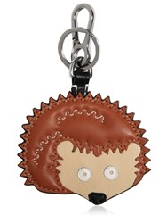 Loewe Hedgehog Charm Leather Key Chain Brown