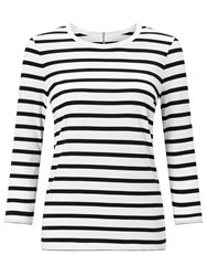 John Lewis Zip Back Breton Stripe T Shirt White Black