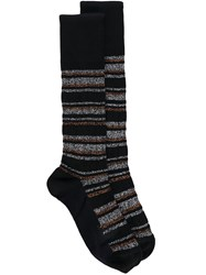 Marni Striped Socks Women Cotton One Size Black
