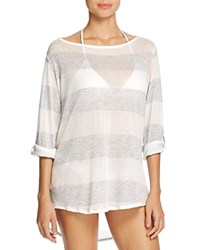 Splendid Homespun Stripe Tunic Swim Cover Up Grey