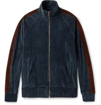 Fanmail Organic Cotton Velour Track Jacket Navy