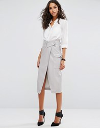 Asos Leather Look Pencil Skirt With Belted Waistband And Pockets Grey Black