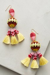 Anthropologie Rayna Drop Earrings Yellow Motif