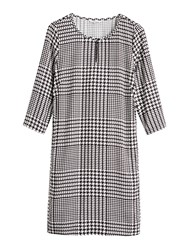 Sandwich Houndstooth Dress With Pockets Black