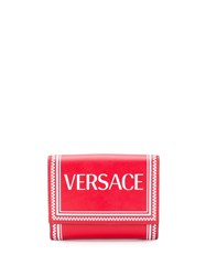 Versace Logo Printed Border Wallet Red