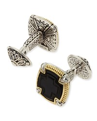 Ares Square Silver And 18K Gold Cuff Links Konstantino Black