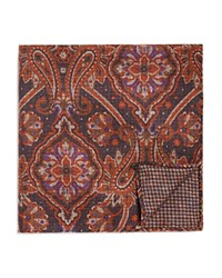 Bloomingdale's The Men's Store At Double Sided Paisley And Houndstooth Pocket Square Gray Brown