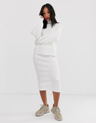Bershka Knitted Two Piece Skirt In Cream