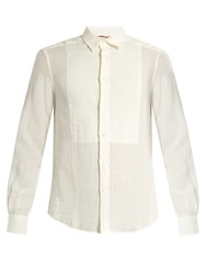 Barena Point Collar Bib Front Linen Shirt White