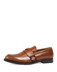 Gucci Strand Leather Loafer W Web Cognac