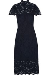 Ganni Flynn Stretch Lace Turtleneck Midi Dress Midnight Blue