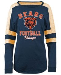 5Th And Ocean Women's Chicago Bears Space Dye Long Sleeve T Shirt Navy