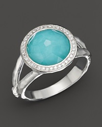 Ippolita Sterling Silver Stella Mini Lollipop Ring In Turquoise Doublet With Diamonds Silver Multi