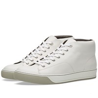 Lanvin Leather Mid Sneaker White
