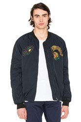 Scotch And Soda Quilted Embroidered Bomber Jacket Blue