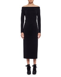 Lanvin Long Sleeve Off The Shoulder Midi Dress Black Noir