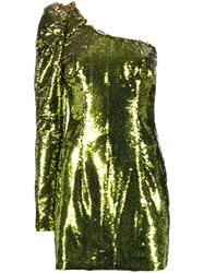 Amen Sequined One Shoulder Mini Dress Gold
