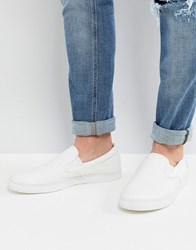 Fred Perry Underspin Slip On Leather Trainers In White