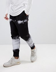Religion Drop Crotch Jogger With Paint Print Black