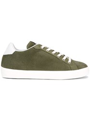 Leather Crown Perforated Sneakers Green