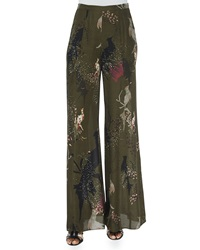 Haute Hippie Bird Print Wide Leg Pants