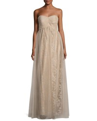 Donna Morgan Shimmer Tulle Strapless Dress Nude