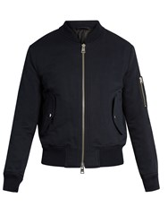 Ami Alexandre Mattiussi Zip Through Cotton Blend Bomber Jacket Navy