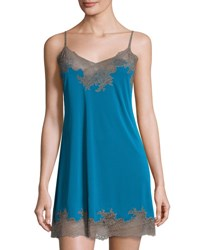 Natori Enchant Lace Trim Chemise Seaport Blue