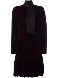 Emanuel Ungaro Vintage Tie Collar Velvet Dress Pink Purple