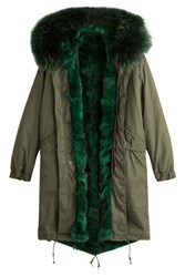 As65 Parka Coat With Fur Lining Green