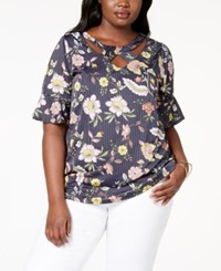 Ny Collection Plus Size Printed Cross Neck Top Navy Stringleaf