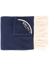 Off White Graphic Knitted Scarf Blue