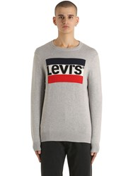 Levi's Logo Intarsia Cotton Knit Sweater Grey