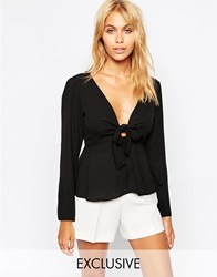 Love Long Sleeve Bow Front Top Black