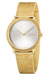 Calvin Klein Minimal Mesh Strap Watch 35Mm Gold Silver
