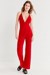 Urban Outfitters Uo Plunging Crepe Jumpsuit Red