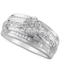 Macy's Diamond Cluster Top Engagement Ring 1 Ct. T.W. In 14K White Gold
