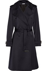 Lanvin Satin Trench Coat Midnight Blue
