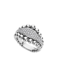 Lagos Caviar Diamond Spark Ring Silver