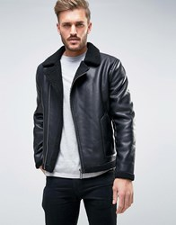 Only And Sons Faux Leather Flight Jacket Black