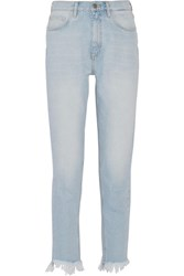 Mih Jeans M.I.H Mimi Frayed High Rise Slim Leg Light Denim