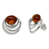 Goldmajor Sterling Silver Amber Spiral Stud Earrings Amber