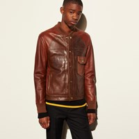 Coach Patched Leather Varsity Jacket Dark Saddle
